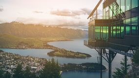 Queenstown, New Zealand in Panoramic View. Queenstown, New Zealand and The Rarkables in Panoramic View Stock Images