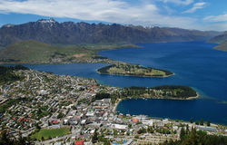 Queenstown, New Zealand SI. This Queenstown,New Zealand located in the southern tip of the south island. Queenstown is the home of bungee jumping Stock Photos