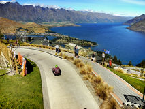 Queenstown, New Zealand. Queenstown - New Zealand. Spectacular view from hill on Queenstown Bay and Lake Wakatipu Royalty Free Stock Photo