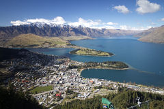Queenstown New Zealand. View of Lake Wakatipu, The Remarkables mountains and Queenstown New Zealand Royalty Free Stock Photography