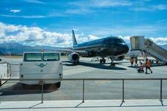 Queenstown, Nieuw Zeeland - Januari 19, Air New Zealand-Levende Zwarte stock foto