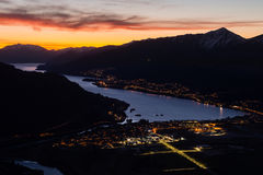 Queenstown nightscape Arkivbild