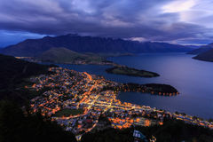 Queenstown nightscape Royaltyfri Fotografi