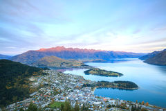 Queenstown Nowa Zelandia zmierzch Zdjęcie Stock