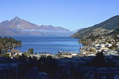 Queenstown. Overlooking Lake Wakatipu in the South Island in new zeland Stock Images