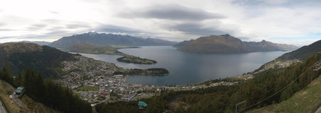 Queenstown Panorama. Panoramic view over Queenstown, New Zealand Royalty Free Stock Photos