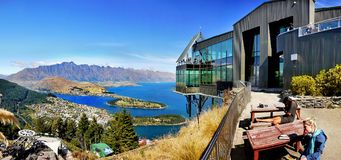 Queenstown Panorama, New Zealand. Queenstown panoramic view - mountains and  Wakatipu Lake, New Zealand Stock Photography