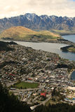 Queenstown portrait. Queenstown Landscape from above with remarkables mountains Royalty Free Stock Photo