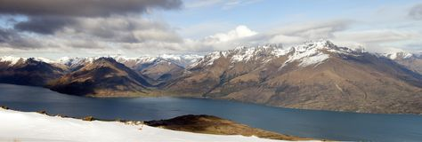 Queenstown and the Remarkables. Lake Wakatipu & The Remarkables Panorama, Queenstown, South Island, New Zealand Stock Image