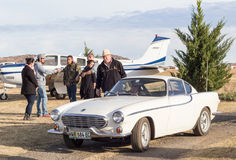 QUEENSTOWN, SOUTH AFRICA - 17 June 2017: Vintage Volvo P1800 car. Being driven as part of a display at an air show stock images