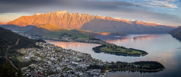 Queenstown at sunset Royalty Free Stock Photo