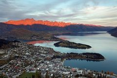 Queenstown sunset New Zealand Stock Photo