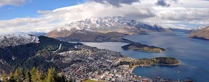 Queenstown u. See Wakatipu Panorama, Neuseeland Lizenzfreies Stockbild