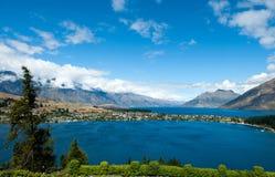 Queenstown und See Wakatipu stockbild