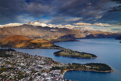 Queenstown view at sunset Stock Photography