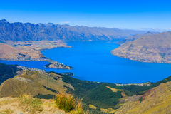 Queenstown view from top of Ben Lomond Royalty Free Stock Image