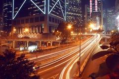 Queensway road by night at Hong Kong Stock Image