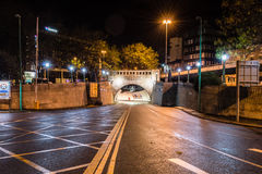 Queensway Tunnel by night entrance. ENGLAND, LIVERPOOL - 15 NOV 2015: Queensway Tunnel by night entrance royalty free stock image