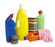 Quehacer doméstico de los productos de limpieza de discos de la higiene Imagen de archivo libre de regalías