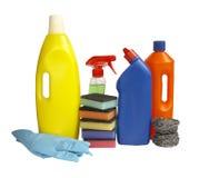 Quehacer doméstico de los productos de limpieza de discos de la higiene Imágenes de archivo libres de regalías