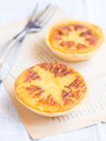 Queijada, traditional Portuguese tart pastry. Portuguese cuisine: queijada, a traditional tart pastry Royalty Free Stock Photography