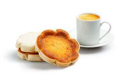 Queijadinhas and Espresso on White Background Stock Photo