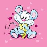 Queijo bonito do amor do rato Foto de Stock Royalty Free