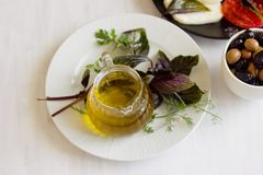 Queijo branco com azeitonas dos tomates, as verdes e as pretas, manjericão, coria Foto de Stock