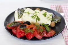 Queijo branco com azeitonas dos tomates, as verdes e as pretas, manjericão, coria Fotografia de Stock Royalty Free