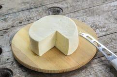 Queijo branco em uma bandeja de madeira Foto de Stock Royalty Free