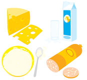 Queijo, creme ácido, kefir, leite e salsicha Imagens de Stock