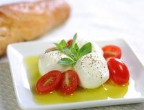 Queijo de Bocconcini, tomate do bebê e petróleo verde-oliva Fotografia de Stock