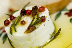 Queijo de cabra fresco com petróleo verde-oliva virgem extra imagem de stock royalty free