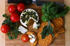 Queijo de Frech com tomates, ervas e crakers Foto de Stock