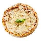 Queijo derretido em uma pizza saboroso de Margherita do italiano Fotos de Stock Royalty Free