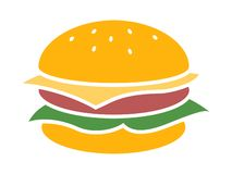 Queijo do hamburguer do logotipo do vetor em um fundo branco ilustração stock
