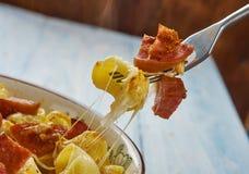 Queijo do macarrão da salsicha de Andouille fotografia de stock