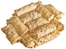 Queijo e Ham Pancake Rolls Isolated no fundo branco imagem de stock