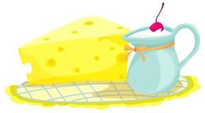 Queijo e leite ilustração do vetor