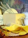 Queijo e leite Imagens de Stock
