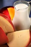 Queijo e leite Foto de Stock Royalty Free