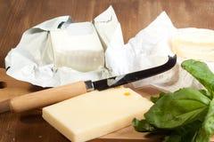 Queijo e manteiga Foto de Stock