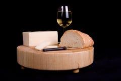 Queijo e pão do vinho Foto de Stock Royalty Free
