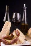 Queijo e salsicha do vinho Fotos de Stock Royalty Free
