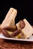 Queijo e salsichas Fotografia de Stock