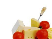 Queijo e tomates Imagens de Stock