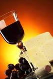 Queijo e vinho vermelho Fotos de Stock