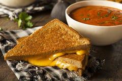 Queijo grelhado caseiro com sopa do tomate fotos de stock