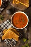 Queijo grelhado caseiro com sopa do tomate imagem de stock