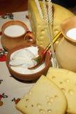 Queijo, leite e creme ácido Fotografia de Stock
